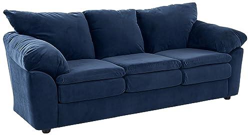 Ravenna Home Darian Blue Velvet Oversized Pillow Sofa, 92 W, Indigo