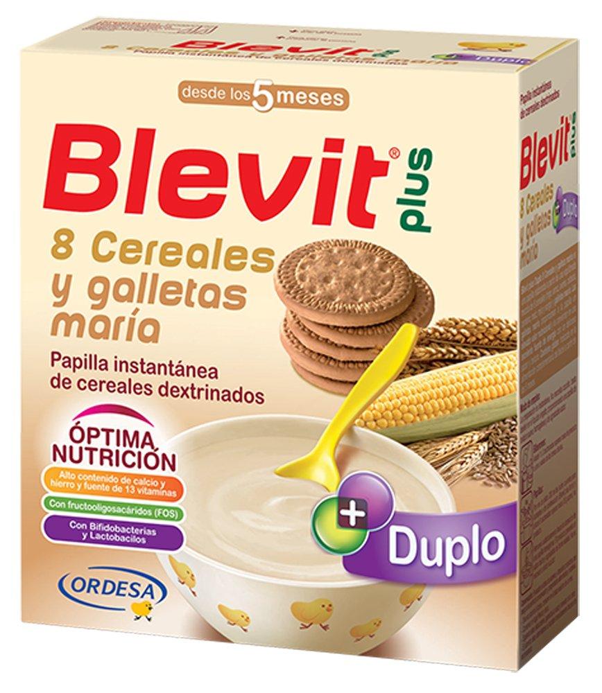 Blevit Plus Duplo 8 Cereales y Galletas María - Paquete de 2 x 300 gr - Total: 600 gr: Amazon.es: Alimentación y bebidas