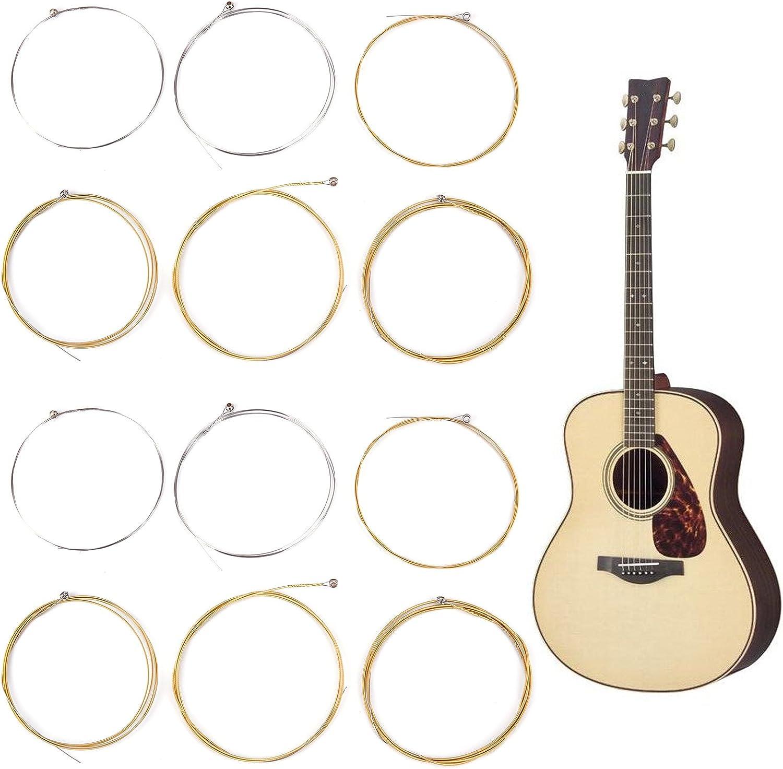 12 cuerdas de acero para guitarra acústica, tamaño mediano ...