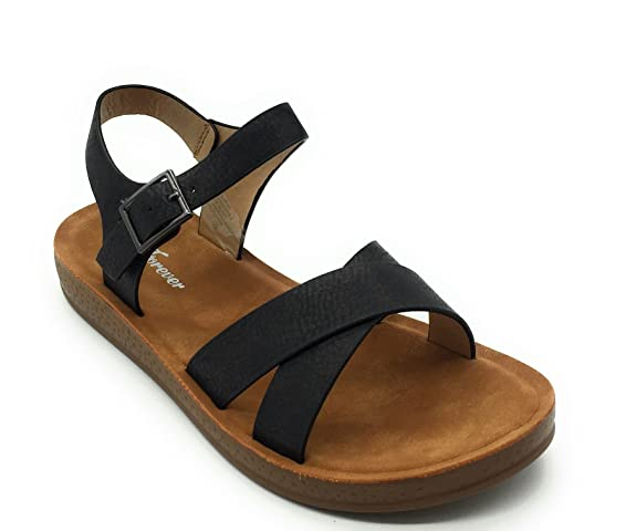 Women Cute Open Toe Comfortable Ankle Strap Platform Wedge Stylish Flexible Summer Flat Sandal by Forever