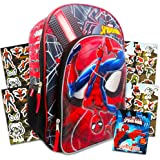 Marvel Spiderman Backpack for Boys ~ Deluxe 16 Inch Marvel Backpack with Over 400 Stickers (Spiderman School Supplies Set)