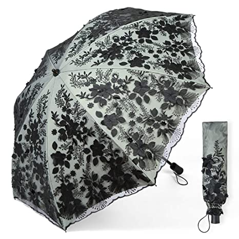 Bordado hecho a mano Paraguas de encaje blanco Sombrilla ...