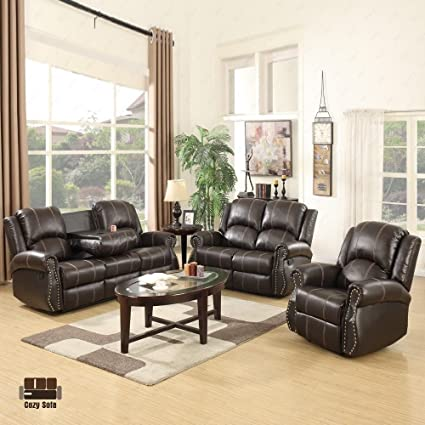 SUNCOO 3 Piece Bonded Leather Recliner Sofa Set With Cup Holder Gold Thread  Loveseat Chair