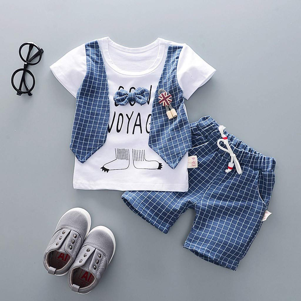 Gentleman Baby Boys Clothes Classic Plaid Print Tops Short Pants with Pockets 2Pcs Outfits for Summer Blue, 18-24 Months