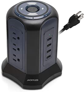 10ft Cord Power Strip Tower Surge Protector JACKYLED 4.5A 4 USB 9 Outlet Electrical Charging Station Tower Universal Socket for Computers, Office Equipment, Home Theatre, Appliances Black Blue