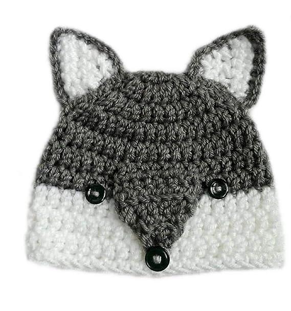 7e6a6fe07c7 LOVE CROCHET ART Crochet Baby Cap Beanie Woolen cat Cap for 0-6 Months Baby  - Grey  Amazon.in  Clothing   Accessories