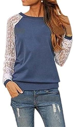 Aoliait Tshirt Manga Larga Mujeres Blusas De Encaje Flores Lace Crochet Camisas Camisetas TÚNica Top...