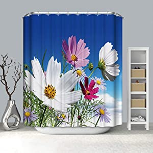 """BH Home & Linen Fancy Garden Rose Fabric Shower Curtain 70"""" x 72 Made with 100% Polyester. (Alma)"""