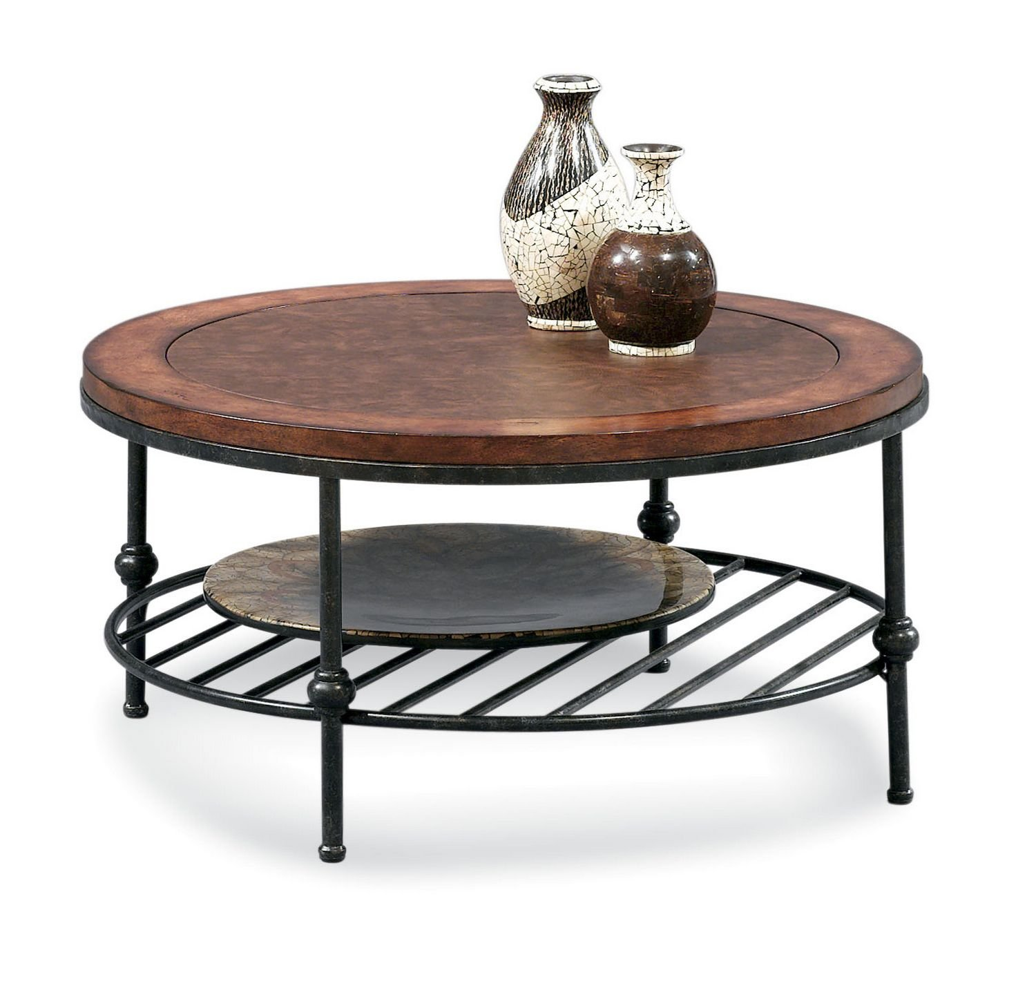 Amazon Round Cocktail Table with Faux Leather Top and Gun