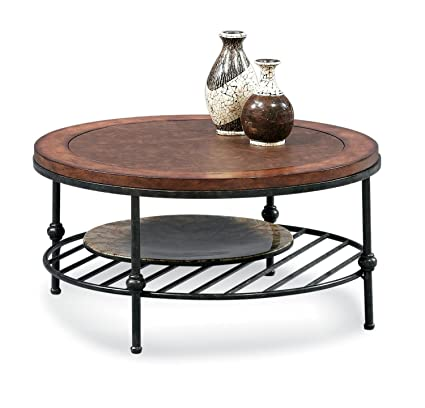 Round Cocktail Table With Faux Leather Top And Gun Metal Base