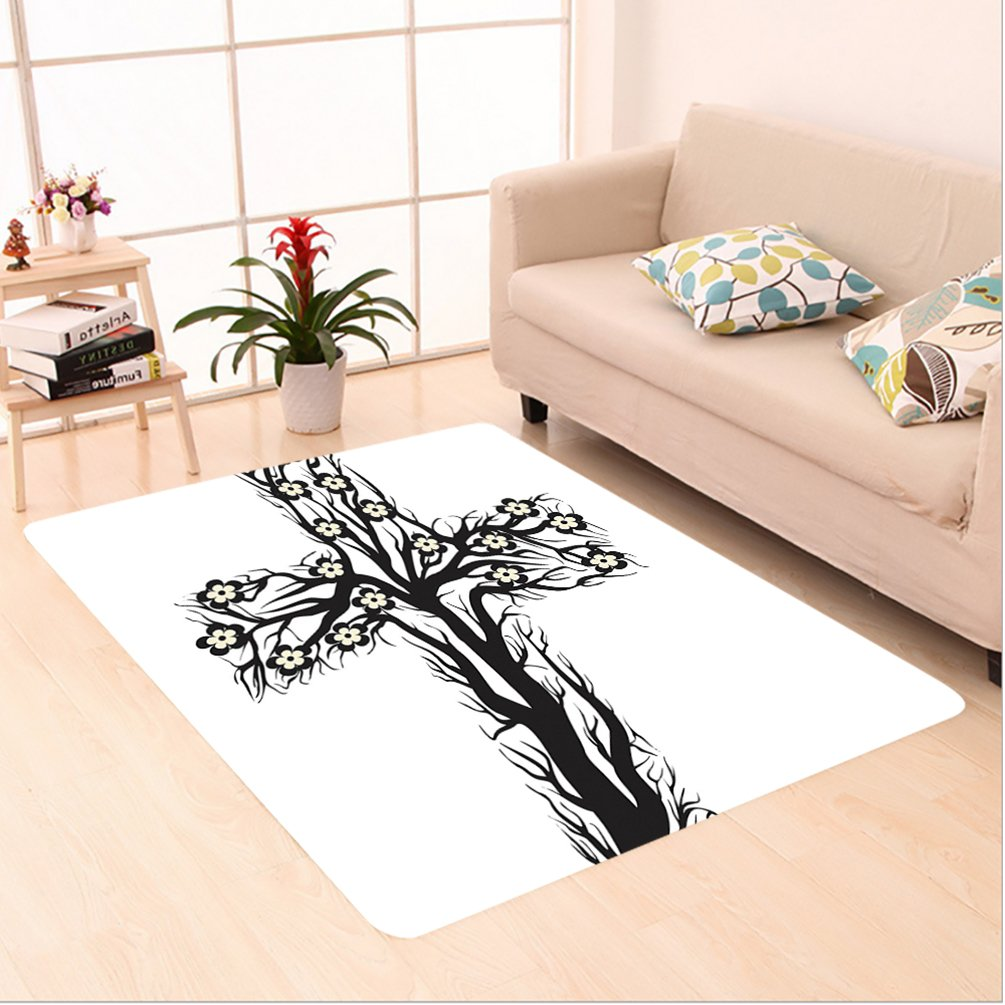 Nalahome Custom carpet n Floral Christian Cross in Tree Shape Christ Religion Prayer Blessed Miracle Symbol Black White area rugs for Living Dining Room Bedroom Hallway Office Carpet (6' X 9') by Nalahome