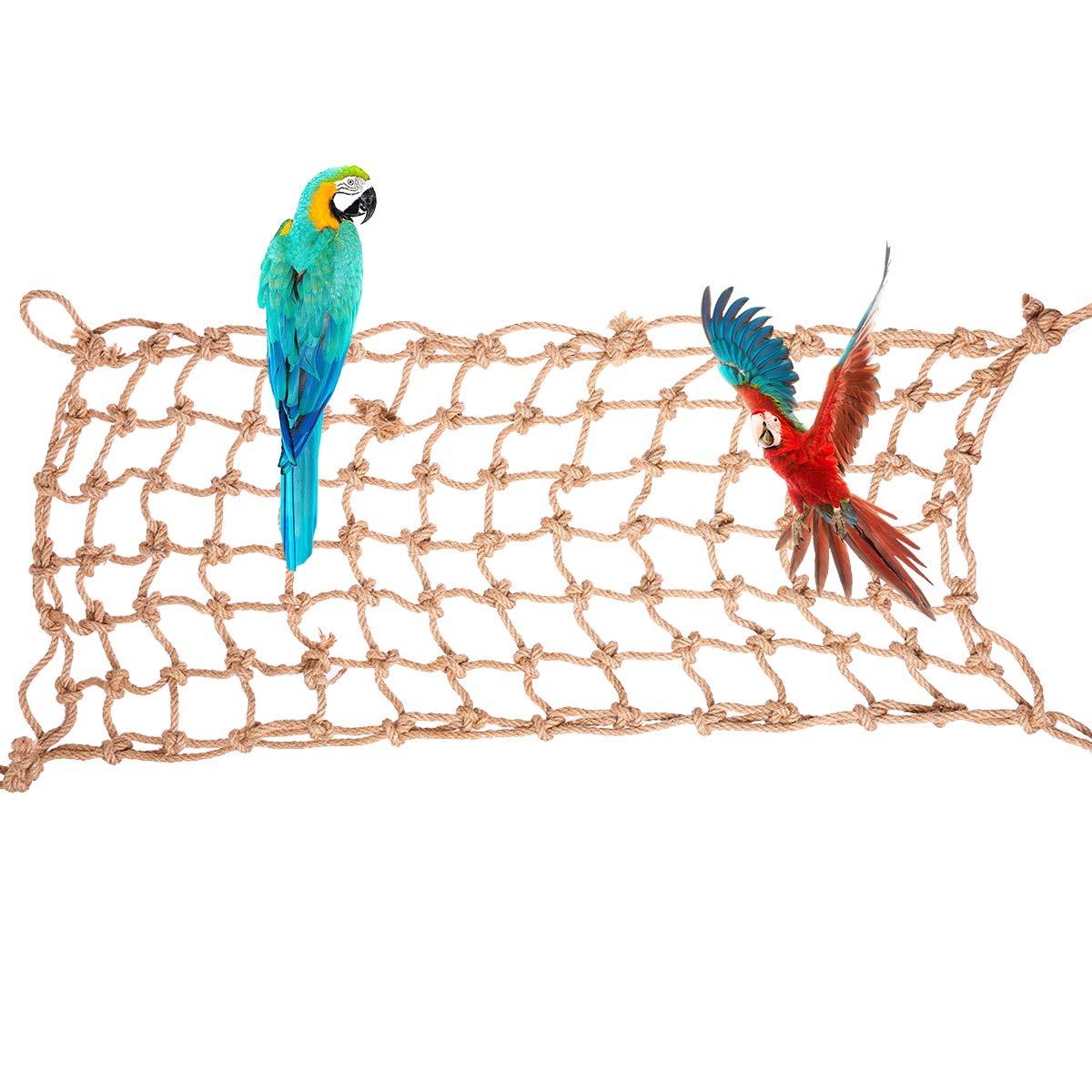 Bonaweite Large Bird Hemp Rope Climbing Parrot Net enriching Habitat by Bonaweite