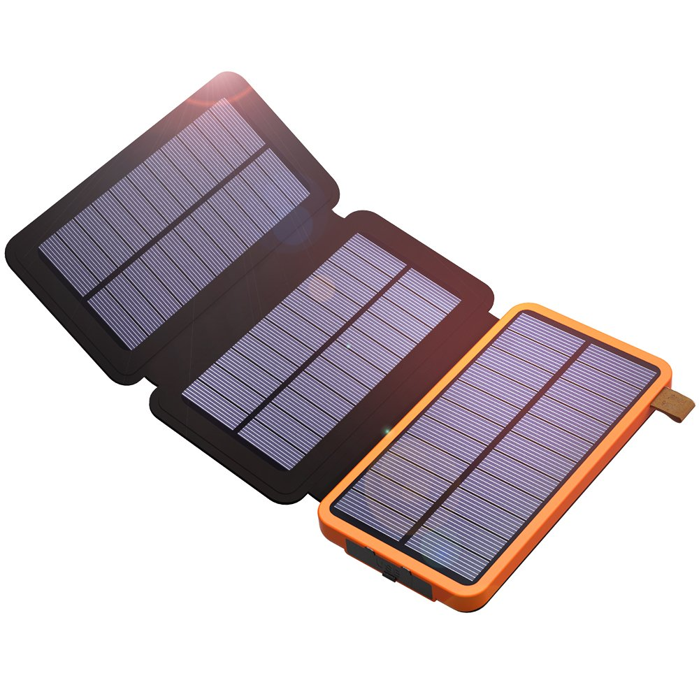 Solar Power Bank, X-DRAGON 10000mAh Solar Charger with 3 Solar Panels,Dual USB, Bright LED Portable Rugged Shockproof Dual USB Solar Battery Charger for iPhone, Cell Phone and More-Orange