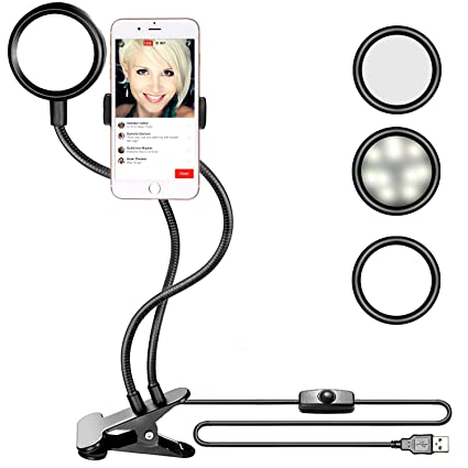 d89d0d5e04c Neewer Clamp-on LED Selfie Ring Light with Cell Phone Holder for Live  Stream,