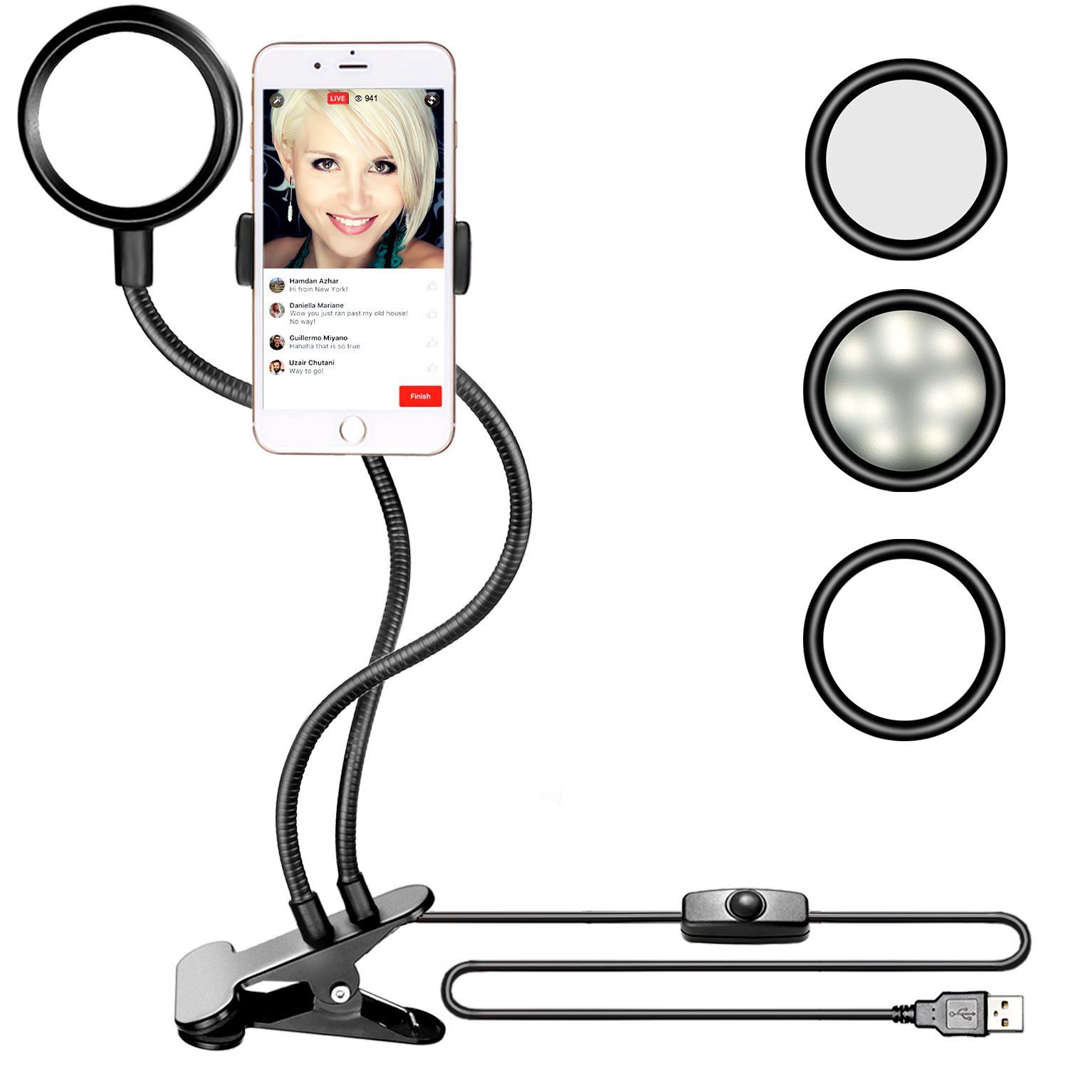 Neewer Clamp-on LED Selfie Ring Light with Cell Phone Holder for Live Stream, 3-Level Brightness, 360 Degree Rotating Flexible Long Arms Gooseneck Mount for YouTube,Facebook,iPhone8/7/6S,Samsung,HTC