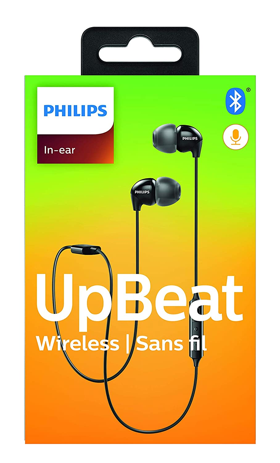Philips UpBeat SHB3595 Wireless Headphones, with up to 6 Hours of Playtime, in-line Mic – Black