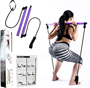 Portable Pilates Bar Kit with Premium & Upgraded 30LB Thick Resistance Bands. Portable Gym Equipment For Home Exercise Bands. Multiple Use. Elastic Foot Loops Resistance Bands Workout Bar, Yoga Bar kit, & Exercise Bar.