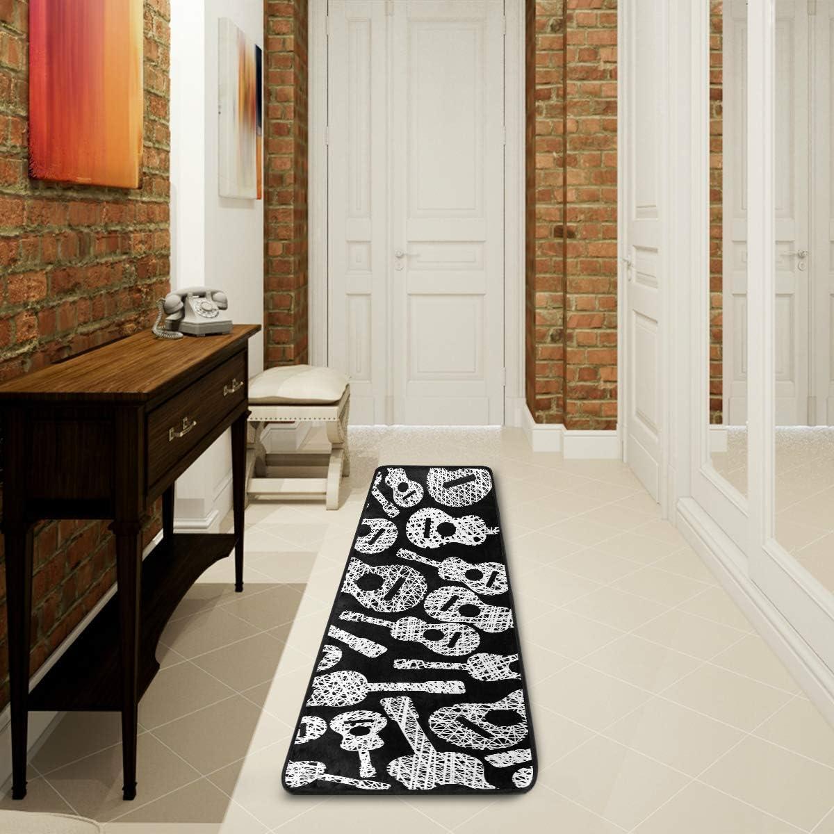 LUPINZ Guitars Music Theme Bathroom Mat Rugs Runner Hallway Entry Carpet 72x24 inch