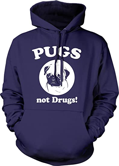 48383bf5 Pugs Not Drugs Sweater Pug Face Funny Shirts Dogs Humor Novelty Hoodie  (Navy) S