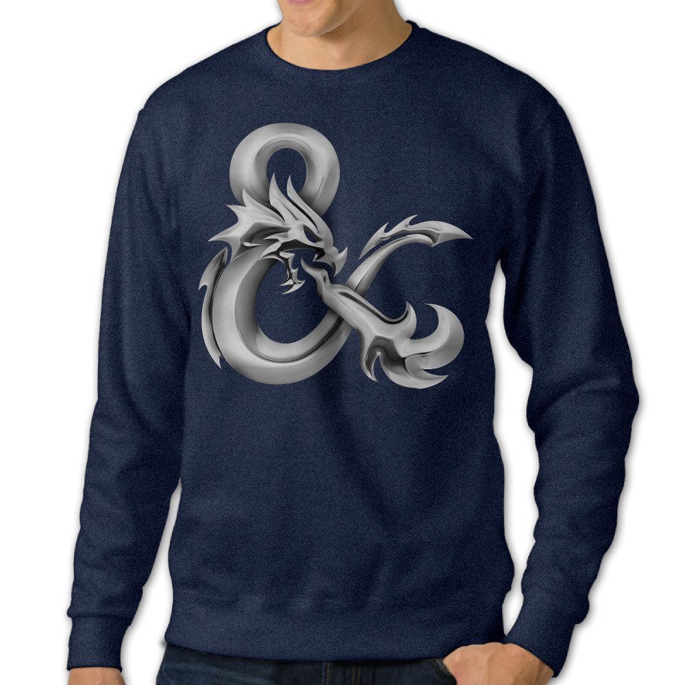 Umison Dungeon Logo Dragon Mens Crewneck Long Sleeve Tshirt Navy