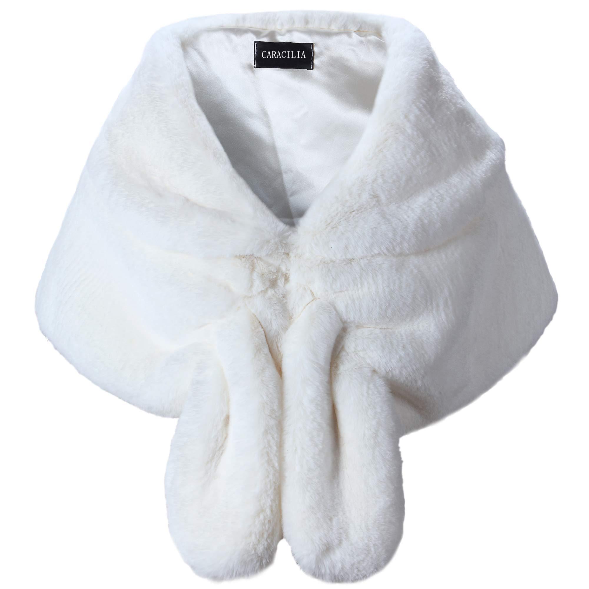 Caracilia Women Wedding Bridal Faux Fur Shawls and Wraps CA95 , Ivory2 , Large
