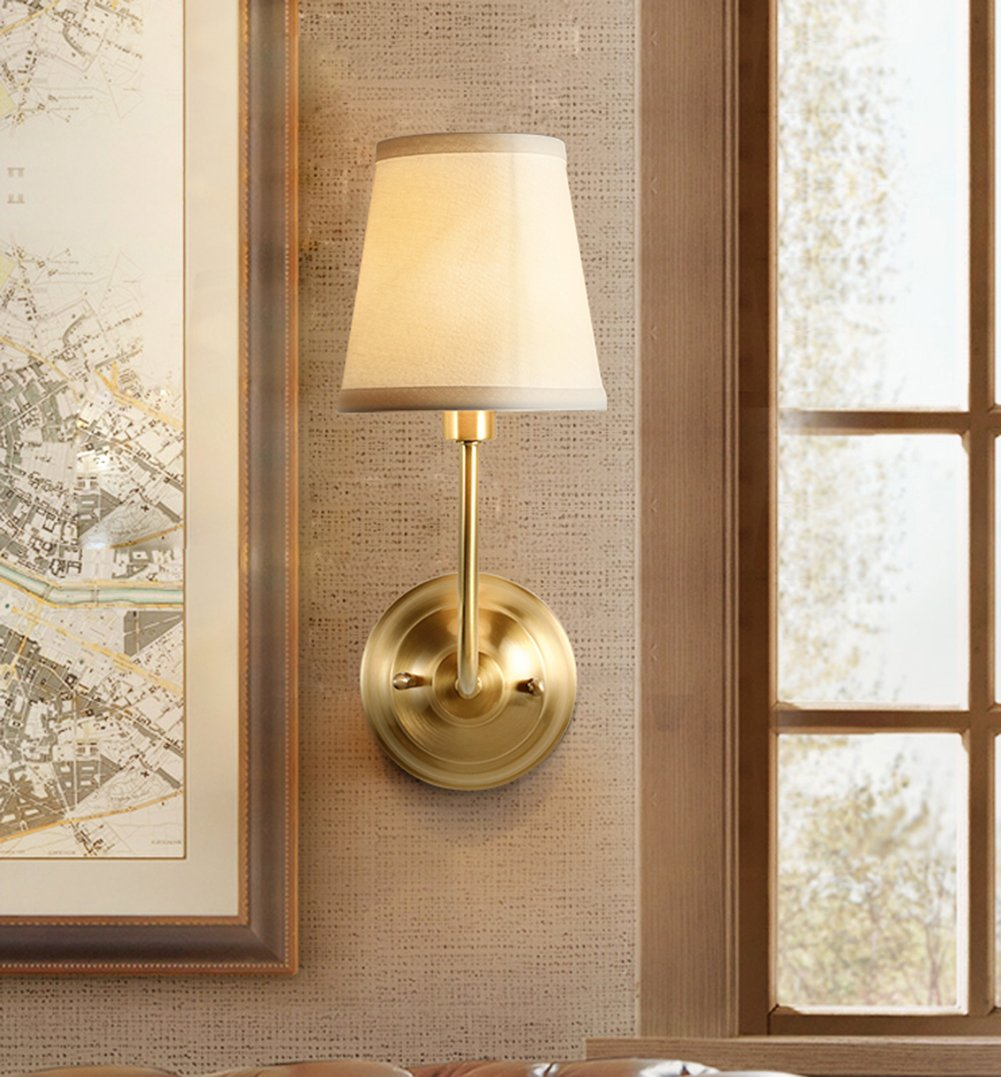 NOXARTE Brass Body Wall Mounted Light Industrial Vintage Style Fabric Lampshade Wall Sconce Wall Lamp Lighting Fixture for Bedroom Hallway Living Room W5.9 x H15.4 by NOXARTE (Image #2)