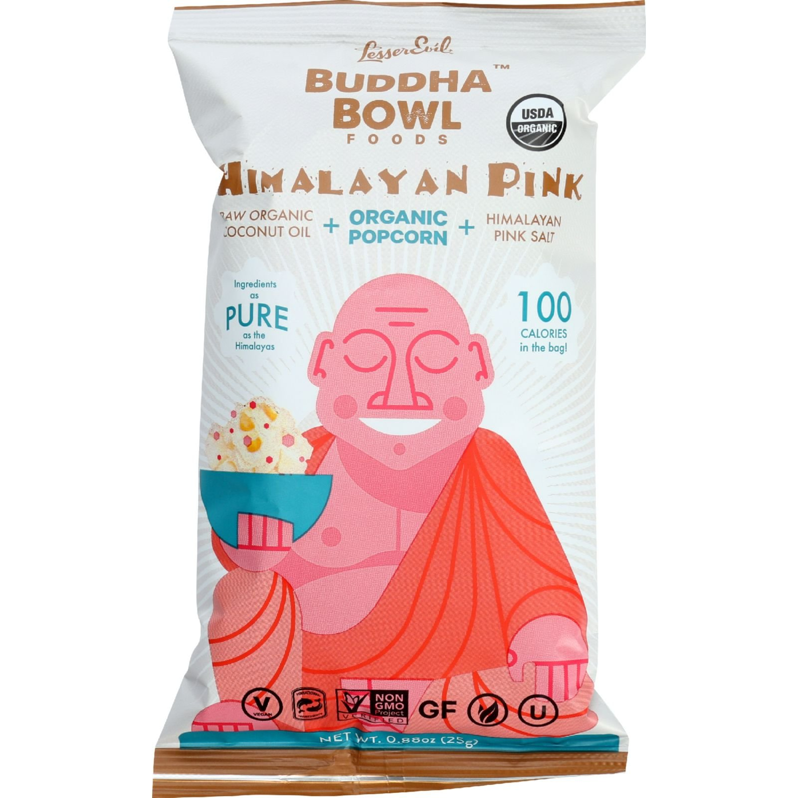 Lesser Evil Popcorn - Organic - Himalayan Pink - .88 oz - case of 18 by LesserEvil Healthy Brands