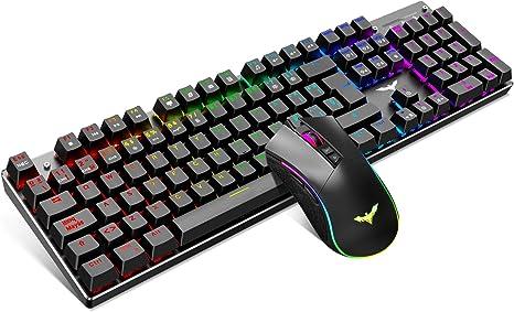 havit Teclado mecánico Gaming y ratón Español Teclados Gaming con Cable, Azul Anti-Efecto Fantasma de 105 Teclas, Ratón Gaming programable, Negro: Amazon.es: Electrónica