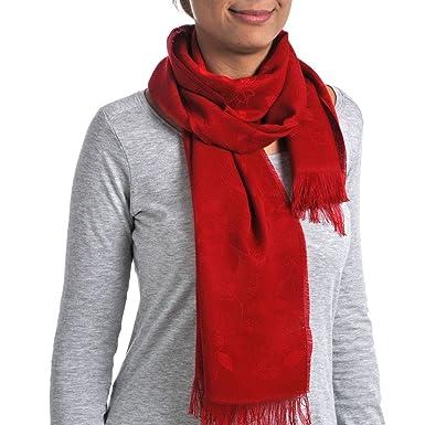Qualicoq Echarpe légère Alzonne - Couleur - Rouge - Fabriqué en France 4ca1039d073