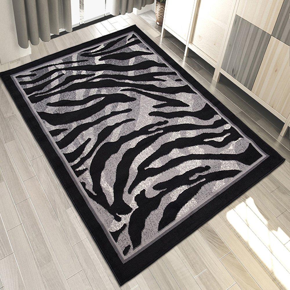 Carpeto Designer Teppich Zebra Tierfell Muster Meliert In Schwarz Grau - ÖKO Tex (200 x 300 cm)