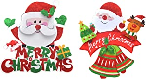 BPNHNA 2pcs Merry Christmas Hanging Sign Decorations Santa Claus Bells Wall Door Front Porch Hanger Decor for Home Window School Office Holiday Party Supplies Favors