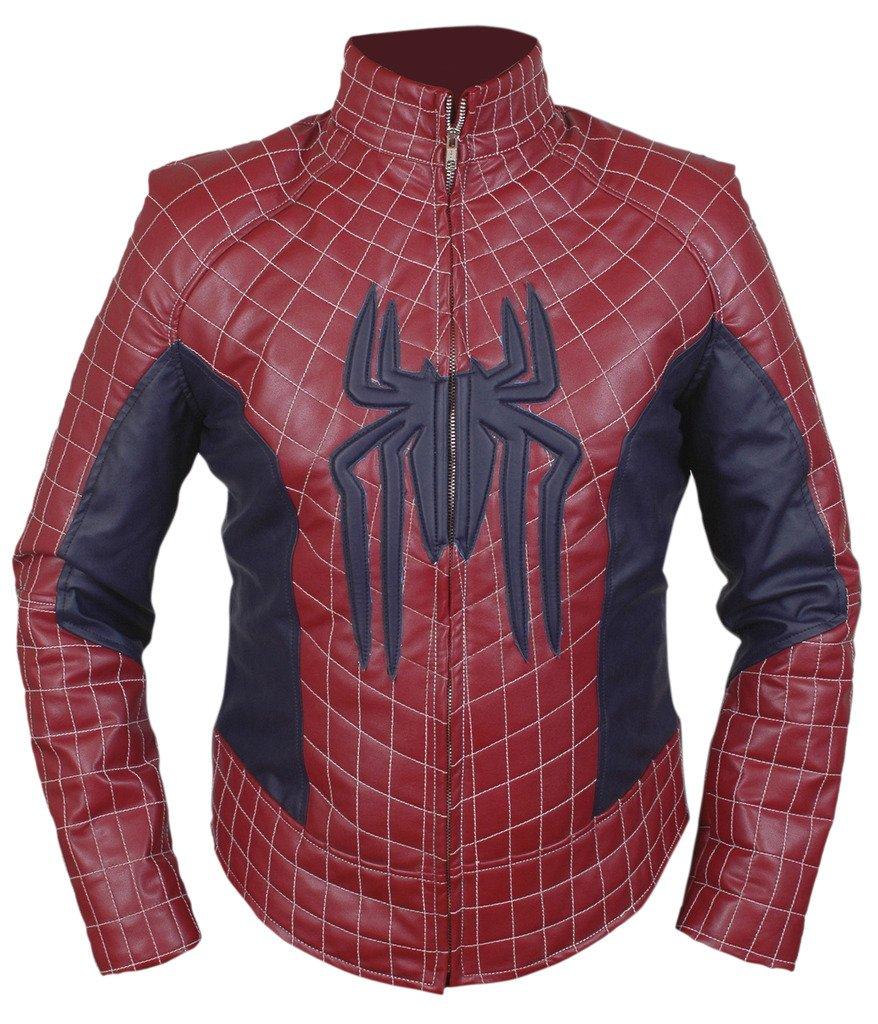 F&H Men's Amazing Spiderman Genuine Leather Jacket XL Maroon by Flesh & Hide