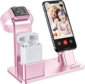 YoFeW Charging Stand for Apple Watch Charger Stand Aluminum Charging Station Compatible for iWatch Apple Watch Series 4/3 / 2/1/ AirPods/AirPods Pro/iPhone X/XS/XS Ma /8 / 8Plus / 7/7 Plus, Rose Gold