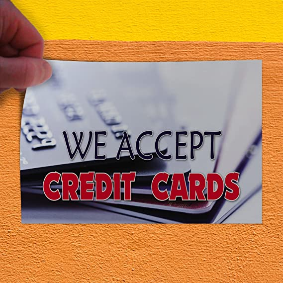 27inx18in Decal Sticker Multiple Sizes We Accept Credit Cards #1 Style I Business We Accept Credit Cards Outdoor Store Sign Grey Set of 5