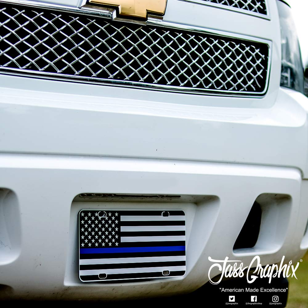 JASS GRAPHIX American Flag License Plate Matte Black on 1/8'' White Aluminum Composite Heavy Duty Tactical Patriot USA Car Tag (Black on White w Blue) by JASS GRAPHIX (Image #4)