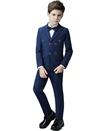 6a765d0ca Yanlu Boys Suits Set Boy Tuxedo Dresswear Blazer Pants Shirt and Bow Tie 2T  Blue