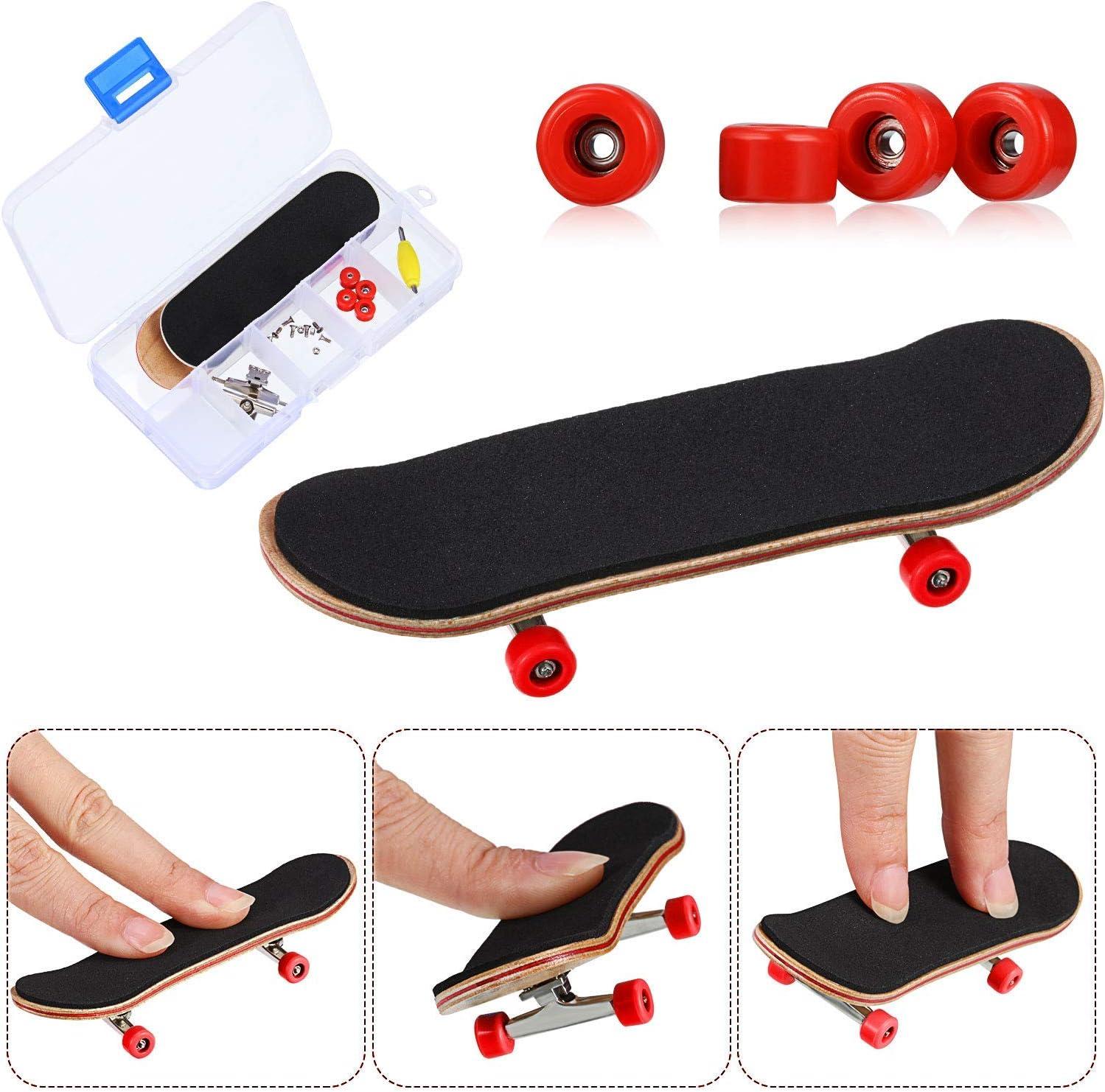 Rouge Planche /à roulettes de Doigt /Érable Wood Ensemble de Bricolage Finger Skateboards Skatepark Finger Skate Boarding Jouets Jeux de Sport Cadeau de Noel pour Enfants QNFY Mini Fingerboard