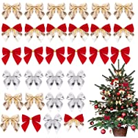 48 Pieces Christmas Tree Bows, Reayouth Christmas Ribbon Bows Christmas Wreath Bow, Great for Christmas Garland…