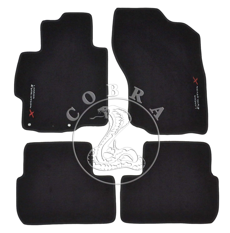 Cobra Auto Accessories Floor Mats Carpet + EVOX Logo Fits Mitsubishi Lancer Evo X 08 09 10 11 12 13 14 15 16