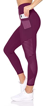 BSP Better Sports Performance Women's High Waist Leggings - 7/8 Workout Pants with Mesh Pocket,Non See-Through