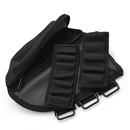 Tactical CS Butt Stock Ammo Pouch Cheek Leather Pad for Right Hand Black