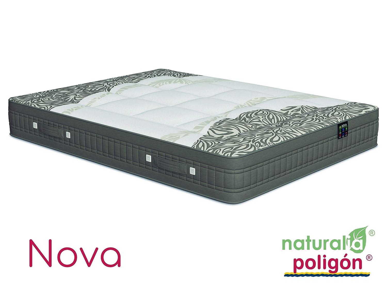 Poligón - Colchón nova oxigel muelles tecnosac, talla 150x190cm, color blanco / negro: Amazon.es: Hogar