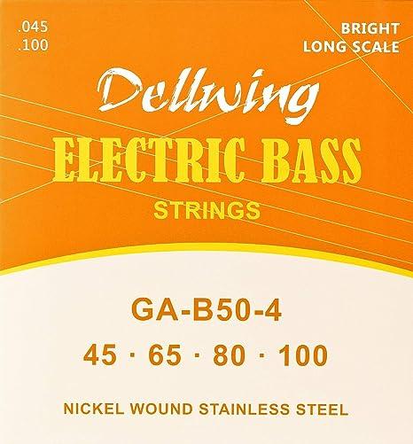Dellwing Cuerdas para bajo eléctrico – Cuerdas guitarra bajo ...