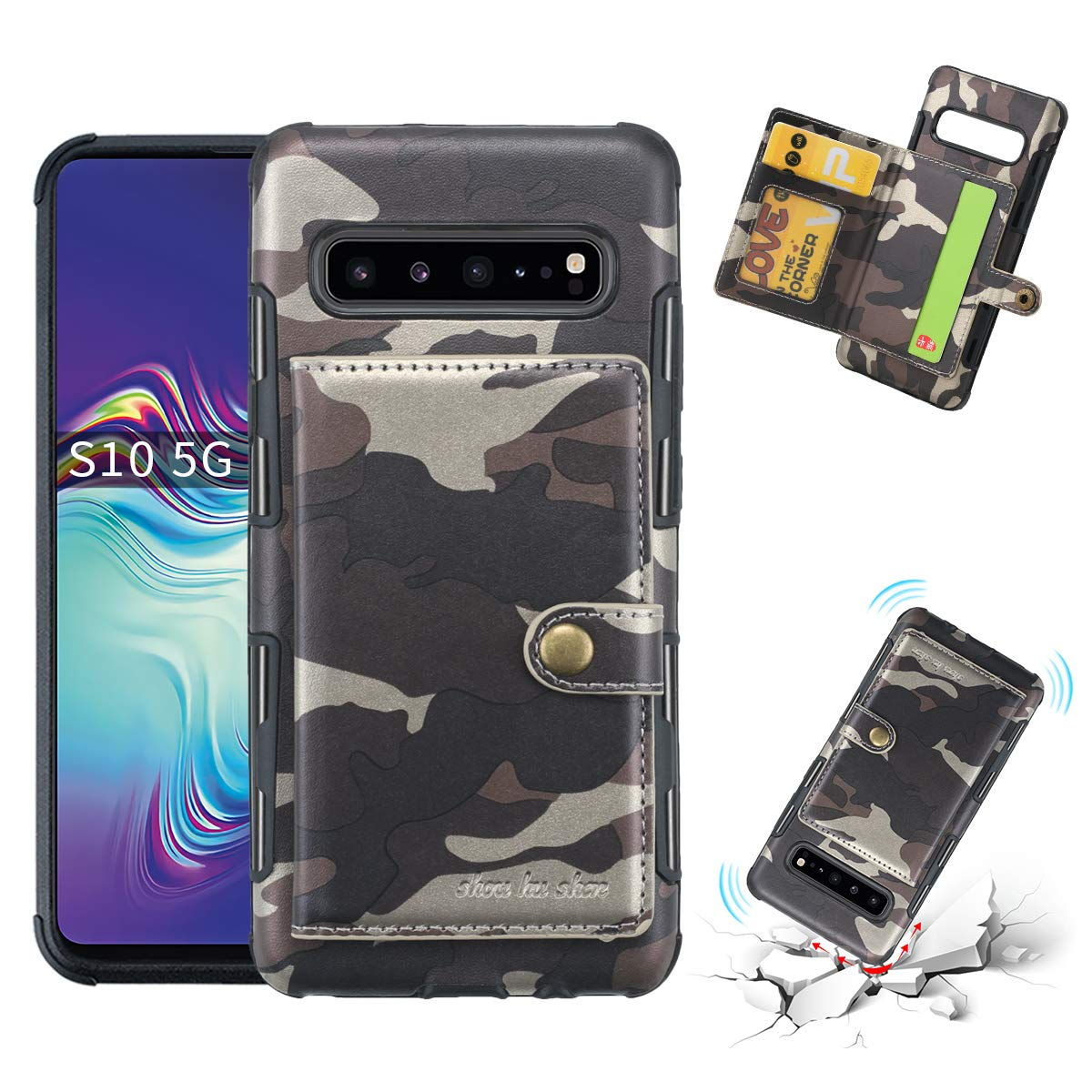 DAMONDY for Galaxy S10 5G Case,Luxury Camo Wallet Purse Card Holders Design Cover Soft Shockproof Bumper Flip Leather Kickstand Magnetic Closure Camouflage Case for Samsung S10 5G 6.7 inch-Coffee