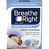 Breathe Right Nasal Strips to Stop Snoring, Drug-Free, Large, Clear for Sensitive Skin, 30 count ( Pack of 2)