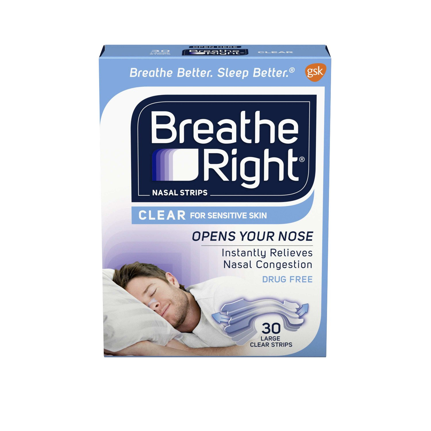 Breathe Right Nasal Strips to Stop Snoring, Drug-Free, Large, Clear for Sensitive Skin, 30 count (Pack of 2)