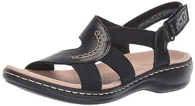 dfc19341eaef CLARKS Women s Leisa Joy Sandal Black Leather Textile Combo 050 ...
