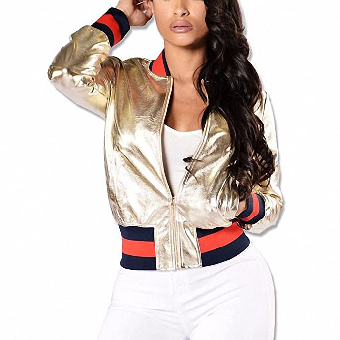 Women Fashion Gold Leather Bomber Jacket Stand Collar Outwear Coat Baseball Jacket at Amazon Womens Clothing store: