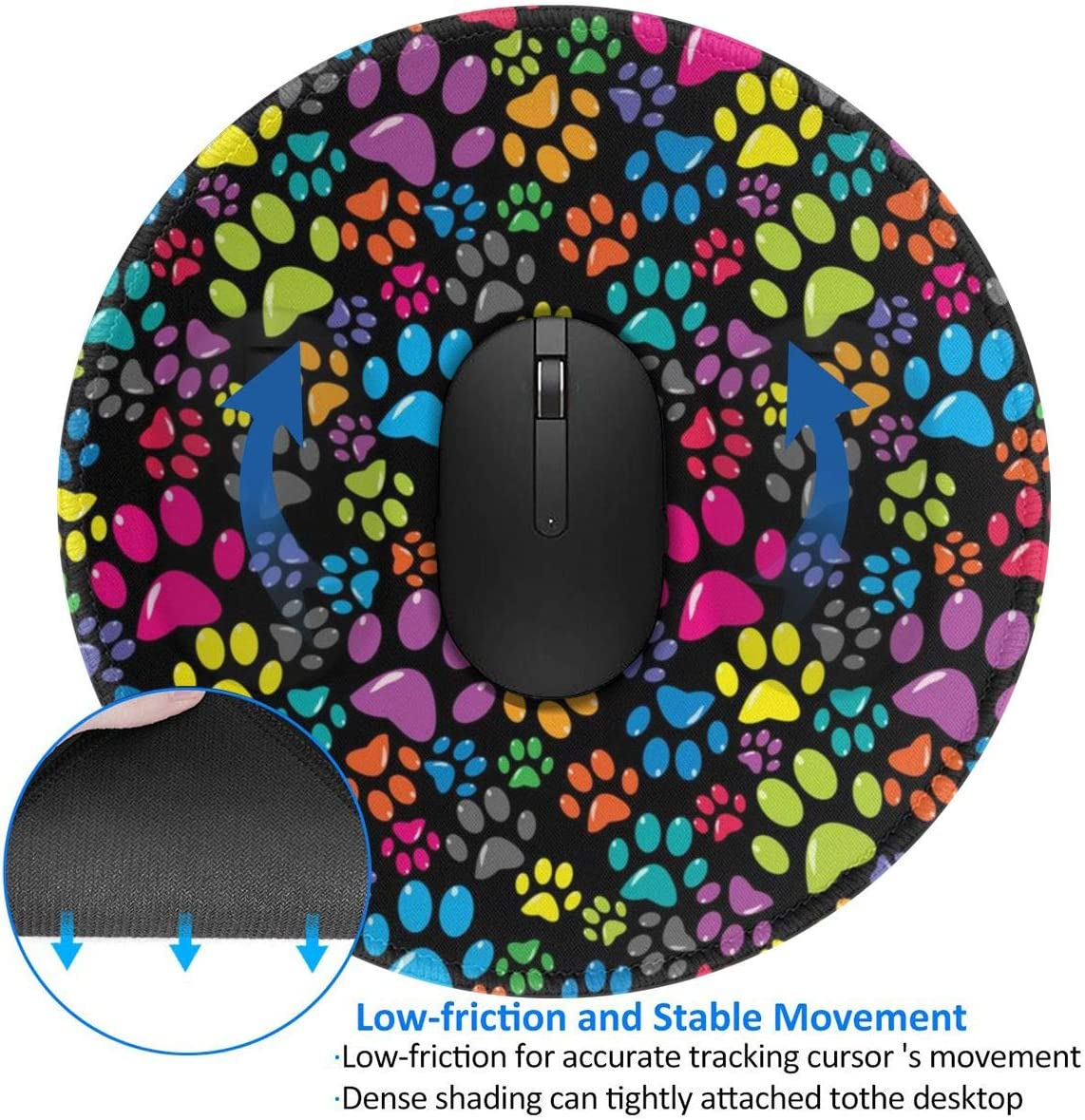 Cardiogram EKG Non-Slip Gaming Mousepad - Washable Rubber Mouse Mat for Computer//Laptop and Consoles 3mm Thick 7.87 X 7.87 Inch X 0.12 Round Mouse Pad