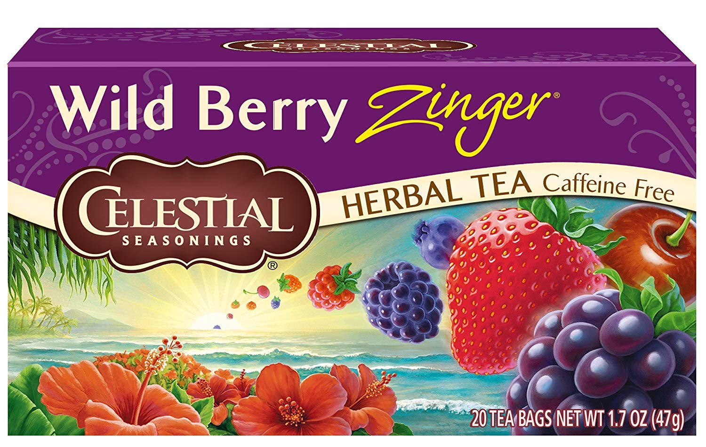Celestial Seasonings Herbal Tea, Wild Berry Zinger, 20 Count per box, Pack of 6